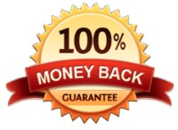 Image of a gold and red badge that says 100% money back guarantee on it in black letters
