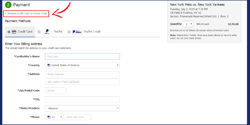 Image of the payment checkout form where visitors can click on redeem coupon code to save 10% off of their order